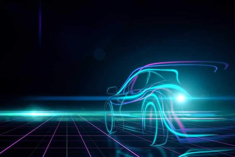 Lichtgevende, digitale afbeelding van auto