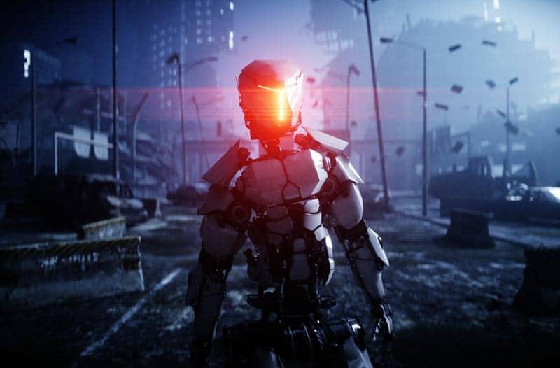 Robot loopt door een verwoeste, rokerige stad