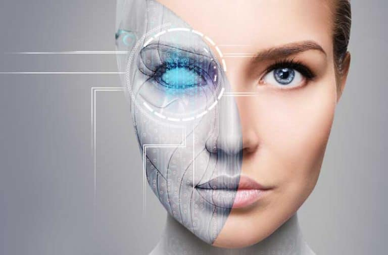 Cyborg woman with half robot face