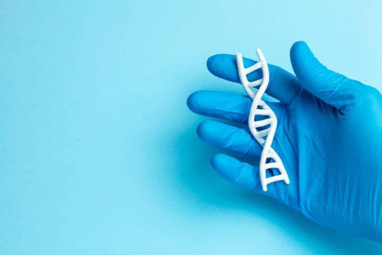 Hand in blauwe handschoen houdt een DNA-streng vast