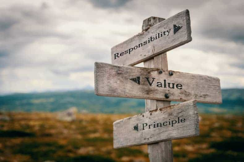 Wooden signpost with the words responsibility, value and principle