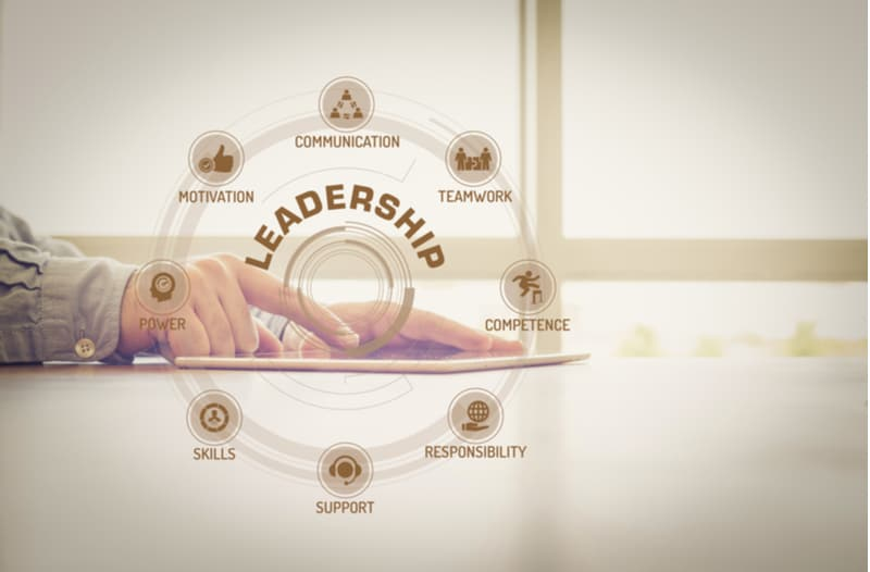 Hands touching a tablet with the words leadership, motivation, power, teamwork, communication, competence, skills, support, responsibility floating above it.