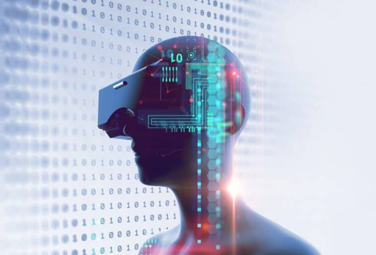 3D weergave van een mens met een VR headset