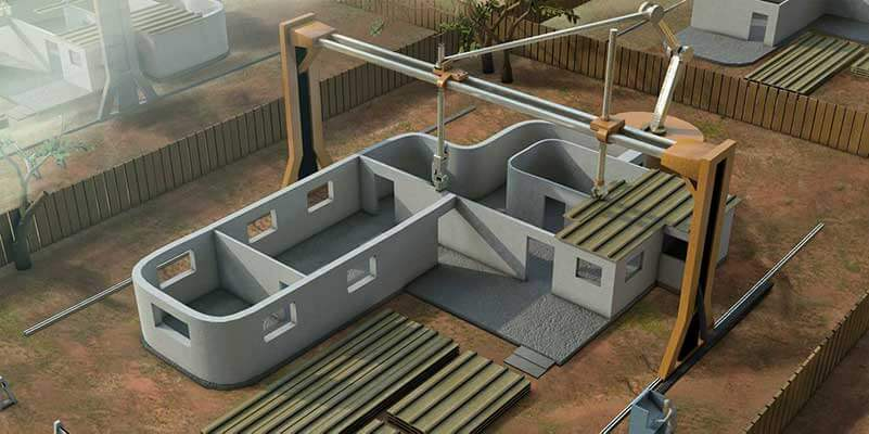 Model of a 3D-printer printing a house