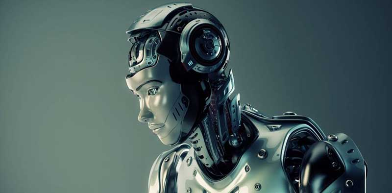 A grey humanoid robot, with its face looking away