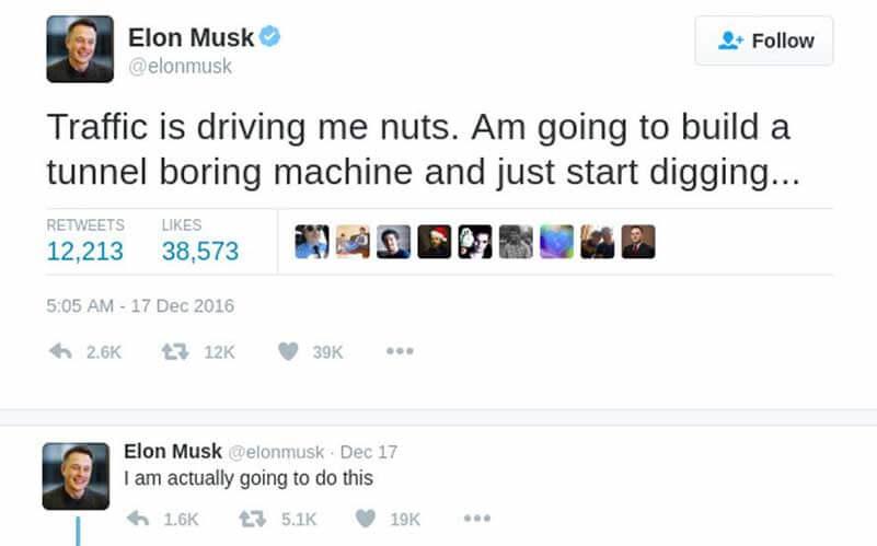 A screenshot of a Elon Musk's tweet