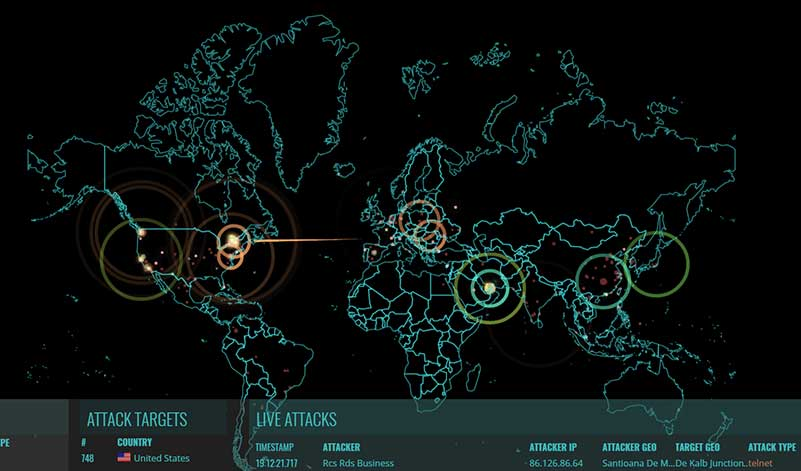 Digital world map indicating details of cyber attacks