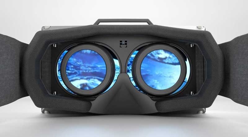 A bright, blue environment viewed through virtual reality goggles