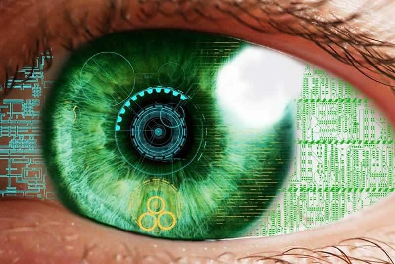 A green, bionic human eye