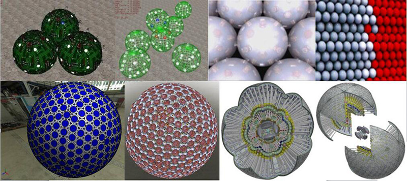 A mosaic of 8 pictures representing electronic nano-scaled devices