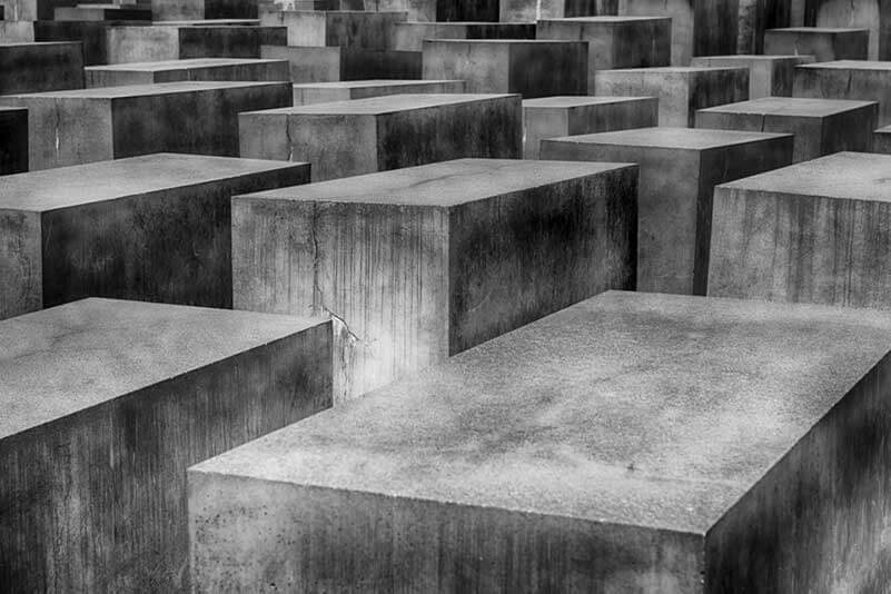 A black and white photo of blocks of concrete
