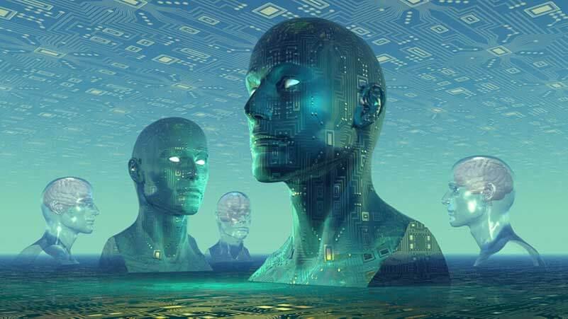 Digital representation of five human heads