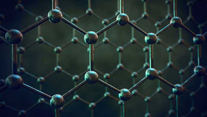 A hexagonal and interconnected atomic structure representing graphene