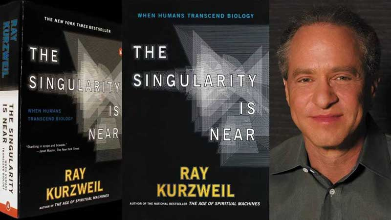 Two photos of Ray Kurzweil's book The Singularity is Near and a picture of himself