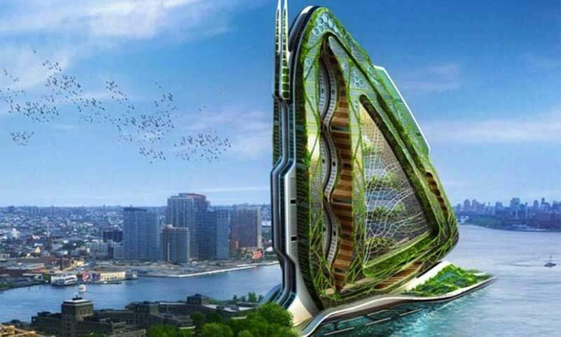 Futuristic building at the water with edible crops