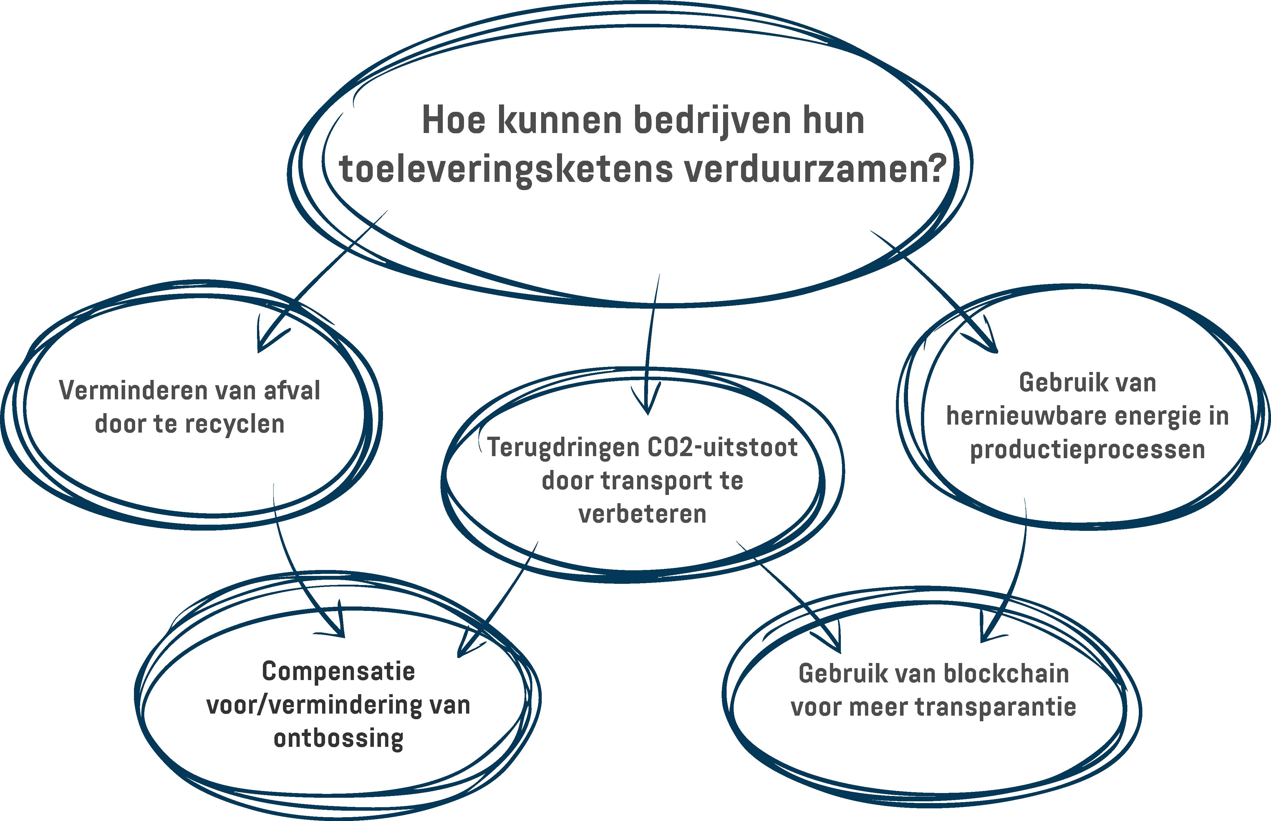Een infographic met verschillende manieren waarop bedrijven hun toeleveringsketens duurzamer kunnen maken