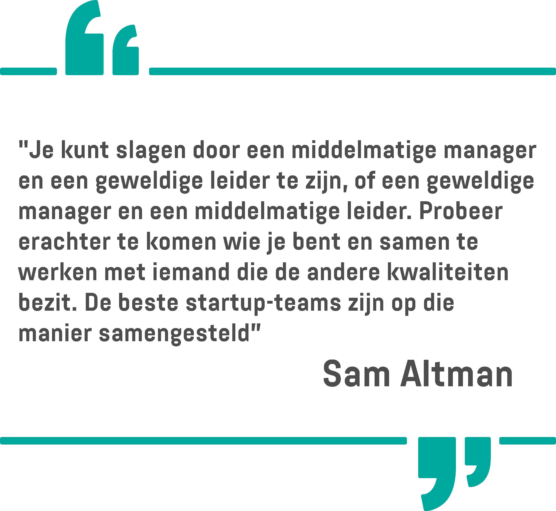 Een citaat van Sam Altman op een witte achtergrond