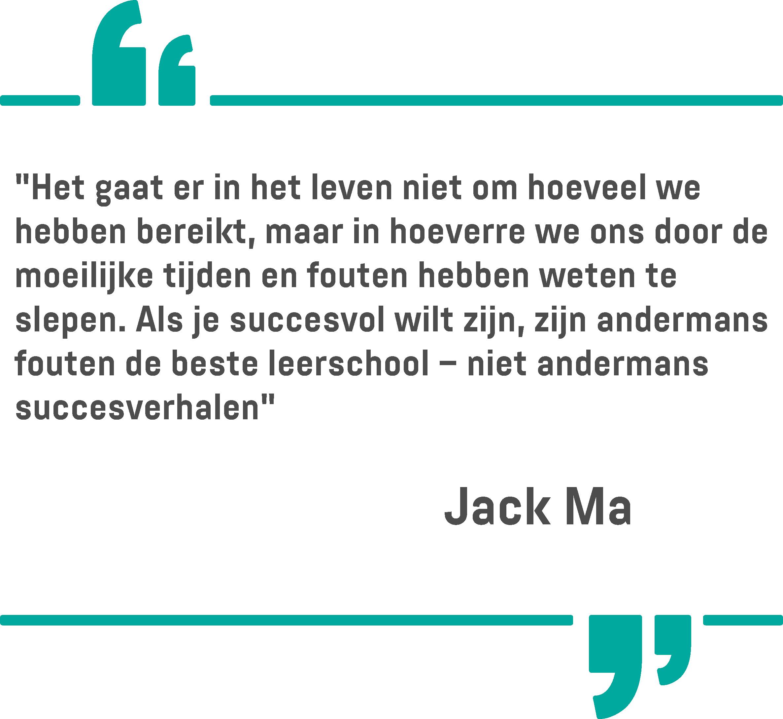 Een citaat van Jack Ma op een witte achtergrond