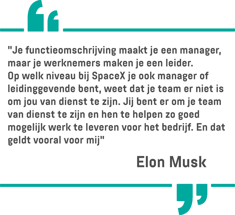 Een citaat van Elon Musk op een witte achtergrond