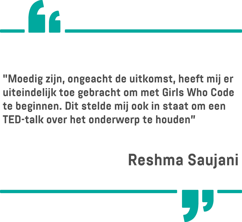 Een citaat van Reshma Saujani op een witte achtergrond
